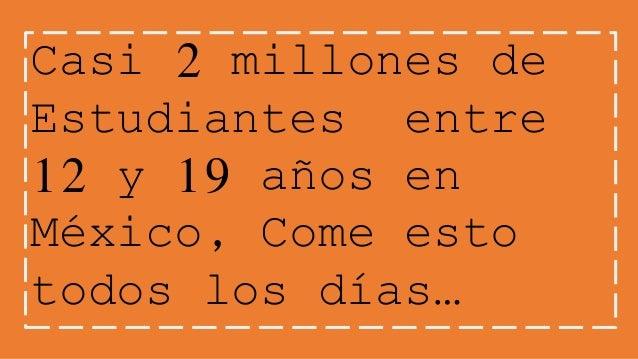 Casi 2 millones de  Estudiantes entre  12 y 19 años en  México, Come esto  todos los días…
