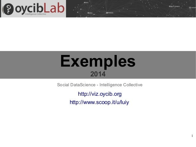1 Exemples 2014 http://viz.oycib.org Social DataScience - Intelligence Collective http://www.scoop.it/u/luiy