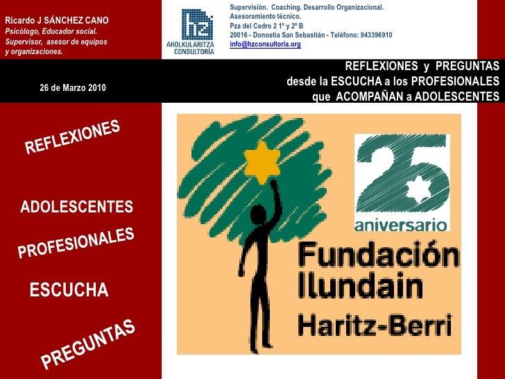Supervisión. Coaching. Desarrollo Organizacional.                                 Asesoramiento técnico. Ricardo J SÁNCHEZ...