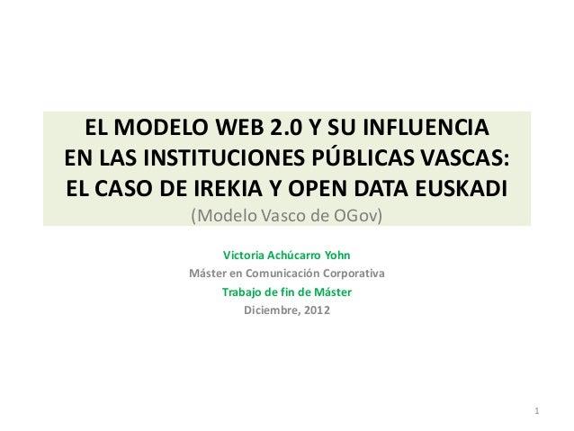 EL MODELO WEB 2.0 Y SU INFLUENCIAEN LAS INSTITUCIONES PÚBLICAS VASCAS:EL CASO DE IREKIA Y OPEN DATA EUSKADI          (Mode...