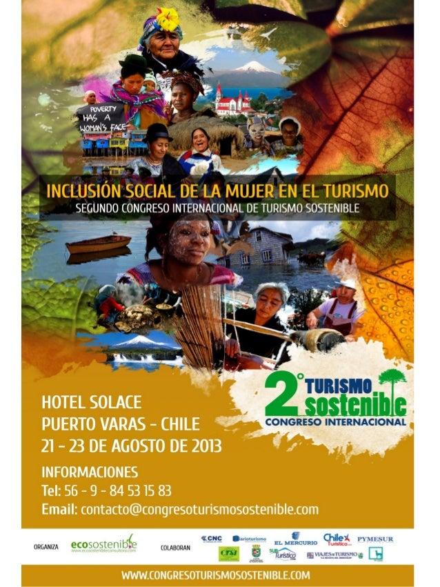 """Evento : 2 Congreso de Turismo Sostenible""""Inclusión Social de la Mujer en el Turismo""""Lugar : Hotel Solace – Puerto Varas /..."""