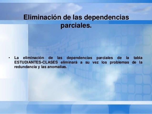 • Esto se consigue descomponiendo estas dependencias en una tablaseparada, creándose así las siguientes nuevas tablas:• ES...