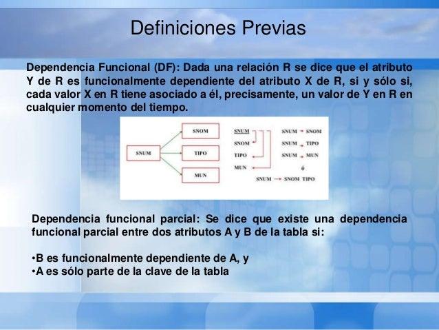 Dependencia funcional completa: El atributo Y es funcionalmentedependiente y completamente del atributo X, si es funcional...