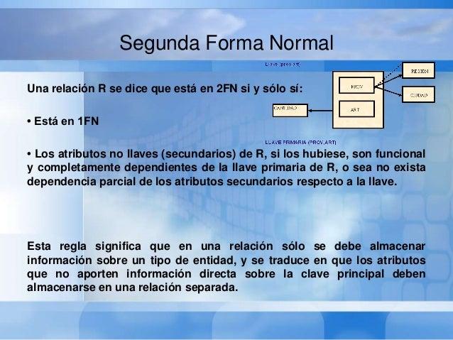 Segunda Forma NormalLas tablas en la Primera Forma Normal suelen presentarcaracterísticas que tienden a dificultar su uso....