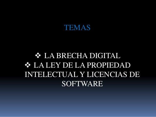 TEMAS  LA BRECHA DIGITAL  LA LEY DE LA PROPIEDAD INTELECTUAL Y LICENCIAS DE SOFTWARE