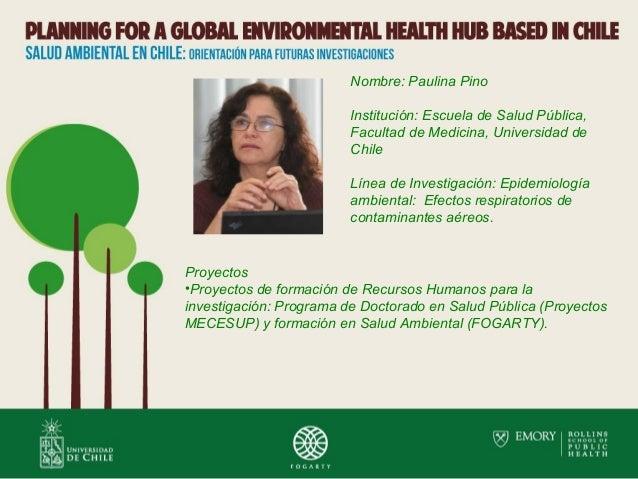 Nombre: Paulina Pino Institución: Escuela de Salud Pública, Facultad de Medicina, Universidad de Chile Línea de Investigac...