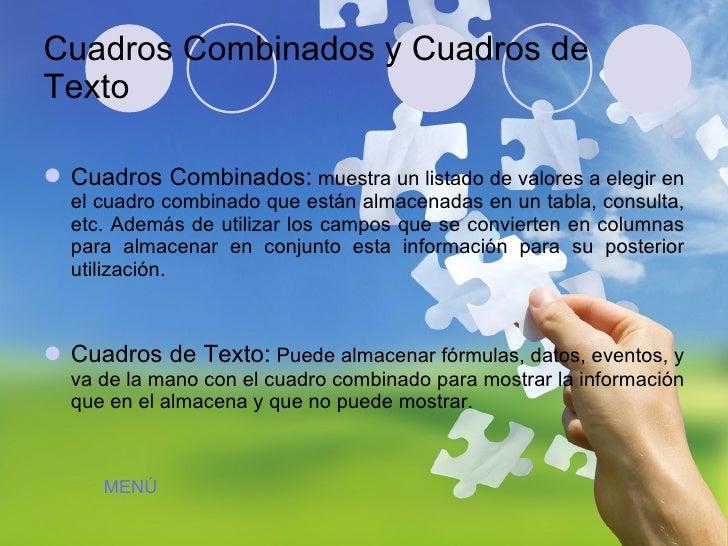 Cuadros Combinados y Cuadros de Texto <ul><li>Cuadros Combinados:  muestra un listado de valores a elegir en el cuadro com...