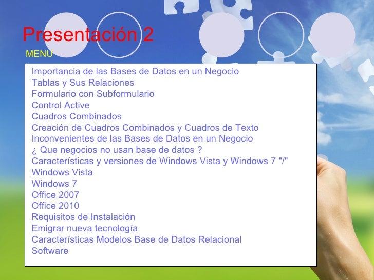 Presentación 2 Juan Pablo Coronado Mata IDE0320608 MENU Importancia de las Bases de Datos en un Negocio Tablas y Sus Relac...