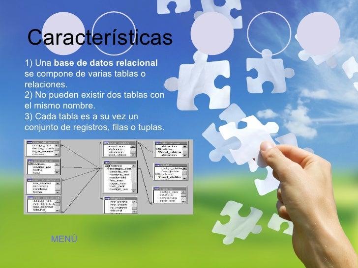 1) Una  base de datos relacional  se compone de varias tablas o relaciones.  2) No pueden existir dos tablas con el mismo ...