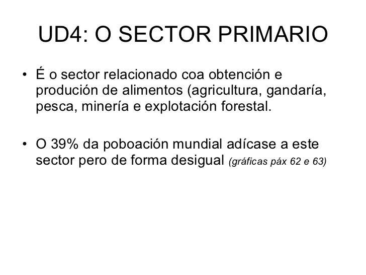 UD4: O SECTOR PRIMARIO <ul><li>É o sector relacionado coa obtención e produción de alimentos (agricultura, gandaría, pesca...