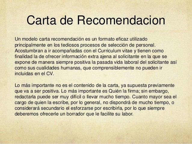 formato de carta recomendacion laboral