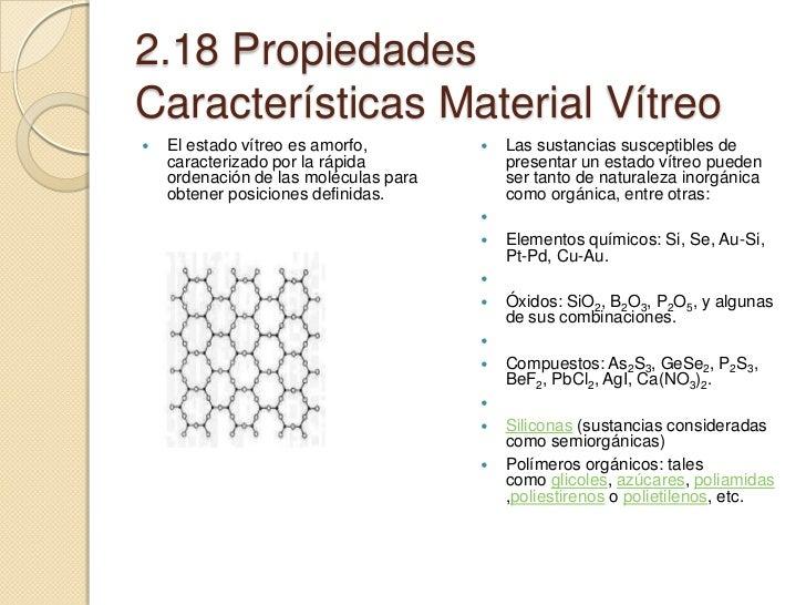 Propiedades Caracteristicas De Un Material Vitreo
