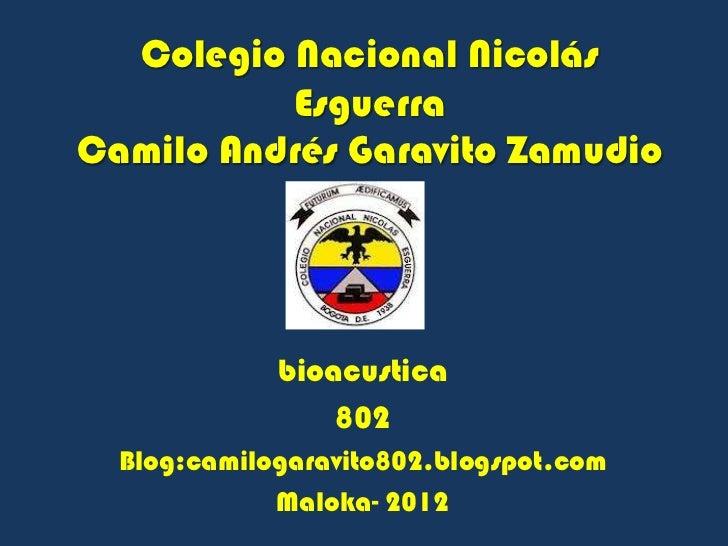 Colegio Nacional Nicolás          EsguerraCamilo Andrés Garavito Zamudio             bioacustica                 802  Blog...