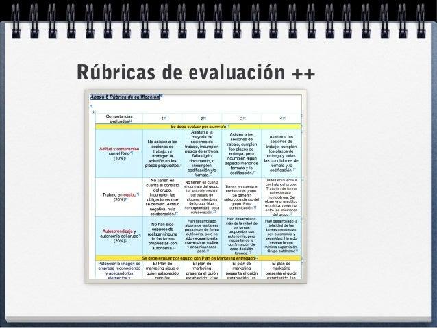Rúbricas de evaluación ++