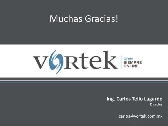 Ing. Carlos Tello Lagarde Director carlos@vortek.com.mx Muchas Gracias!