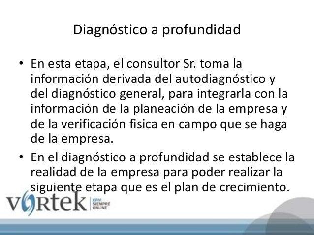 Diagnóstico a profundidad • En esta etapa, el consultor Sr. toma la información derivada del autodiagnóstico y del diagnós...
