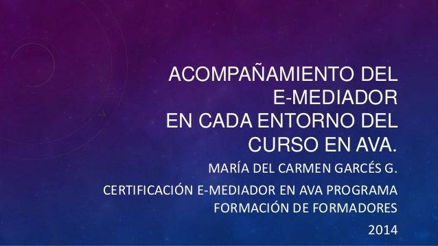 ACOMPAÑAMIENTO DEL E-MEDIADOR EN CADA ENTORNO DEL CURSO EN AVA. MARÍA DEL CARMEN GARCÉS G. CERTIFICACIÓN E-MEDIADOR EN AVA...
