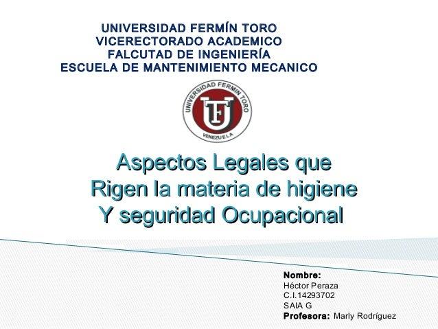 UNIVERSIDAD FERMÍN TORO  VICERECTORADO ACADEMICO  FALCUTAD DE INGENIERÍA  ESCUELA DE MANTENIMIENTO MECANICO  AAssppeecctto...
