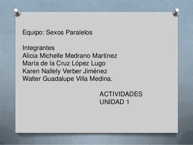 Equipo: Sexos ParalelosIntegrantesAlicia Michelle Medrano MartínezMaría de la Cruz López LugoKaren Nallely Verber JiménezW...