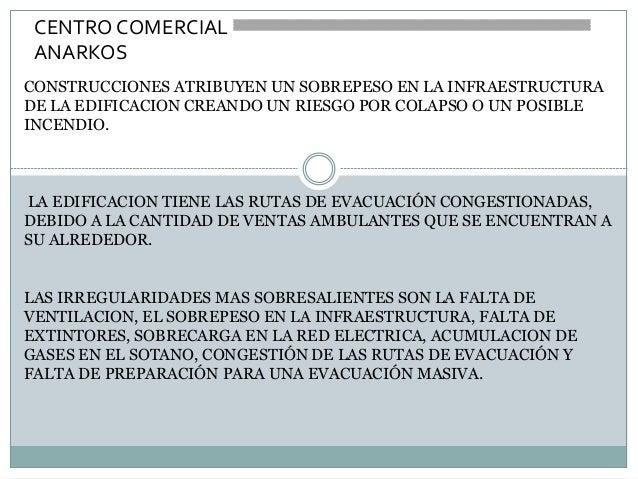 CENTRO COMERCIAL ANARKOS CONSTRUCCIONES ATRIBUYEN UN SOBREPESO EN LA INFRAESTRUCTURA DE LA EDIFICACION CREANDO UN RIESGO P...