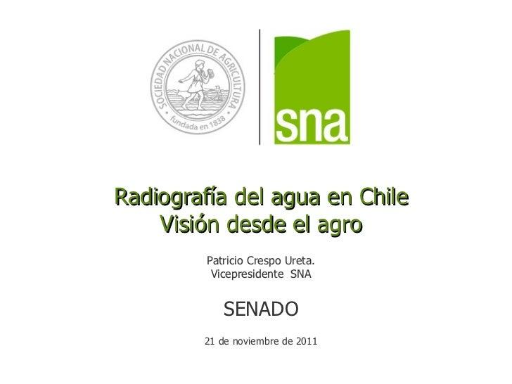 Radiografía del agua en Chile Visión desde el agro Patricio Crespo Ureta. Vicepresidente  SNA SENADO 21 de noviembre de 2011