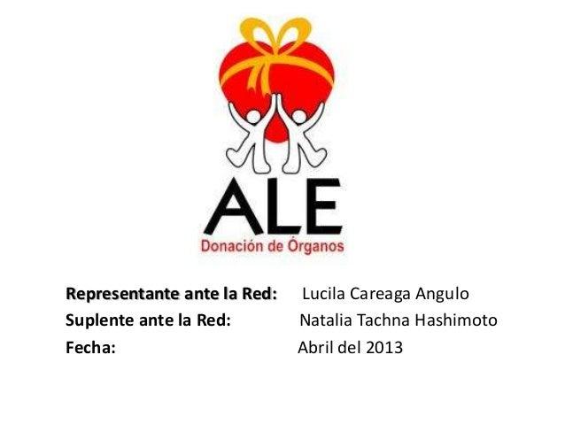 Representante ante la Red: Lucila Careaga AnguloSuplente ante la Red: Natalia Tachna HashimotoFecha: Abril del 2013