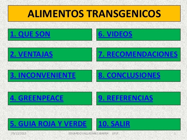 ALIMENTOS TRANSGENICOS 1. QUE SON  6. VIDEOS  2. VENTAJAS  7. RECOMENDACIONES  3. INCONVENIENTE  8. CONCLUSIONES  4. GREEN...