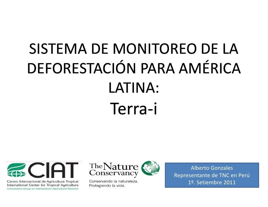 SISTEMA DE MONITOREO DE LADEFORESTACIÓN PARA AMÉRICA          LATINA:          Terra-          Terra-i                    ...