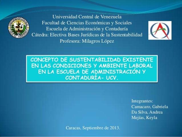 Universidad Central de Venezuela Facultad de Ciencias Económicas y Sociales Escuela de Administración y Contaduría Cátedra...