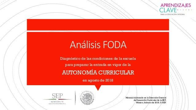 Análisis FODA Diagnóstico de las condiciones de la escuela para preparar la entrada en vigor de la AUTONOMÍA CURRICULAR en...