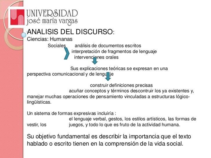 ANALISIS DEL DISCURSO: <br />Ciencias: Humanas<br />Sociales       análisis de documentos escritos<br />                 i...