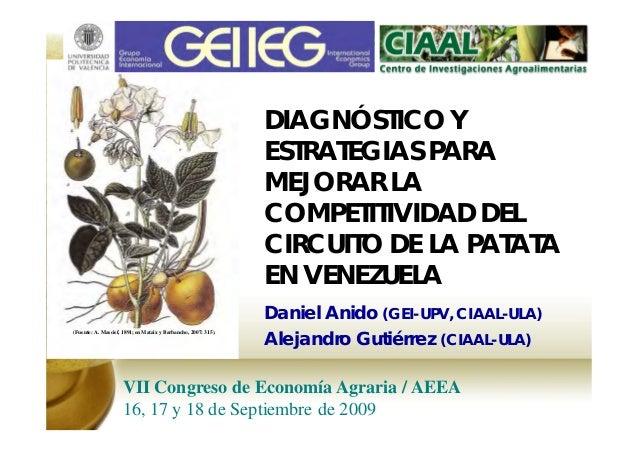 DIAGNÓSTICO Y ESTRATEGIAS PARA MEJORAR LA COMPETITIVIDAD DEL CIRCUITO DE LA PATATA EN VENEZUELA Daniel Anido (GEI-UPV, CIA...