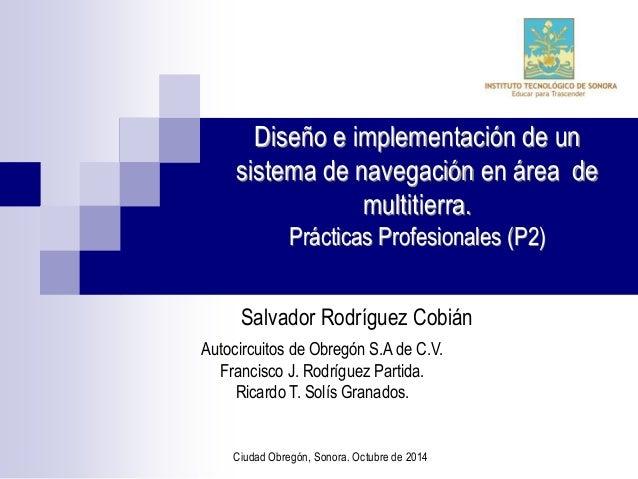 Diseño e implementación de un  sistema de navegación en área de  multitierra.  Prácticas Profesionales (P2)  Salvador Rodr...