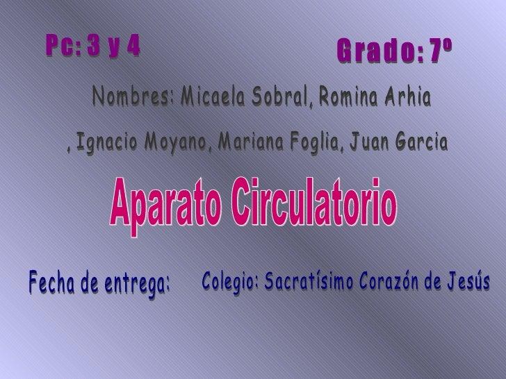 Nombres: Micaela Sobral, Romina Arhia , Ignacio Moyano, Mariana Foglia, Juan Garcia Grado: 7º Pc: 3 y 4 Aparato Circulator...