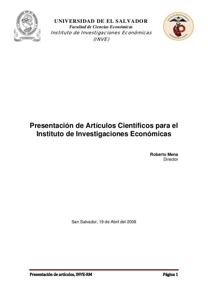 UNIVERSIDAD DE EL SALVADOR                     Facultad de Ciencias Económicas           Instituto de Investigaciones Econ...