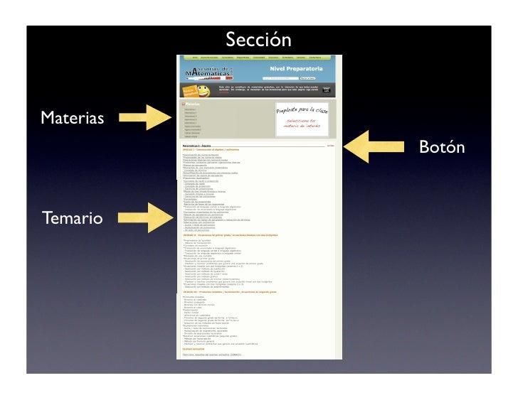 Sección   Materias                      Botón   Temario