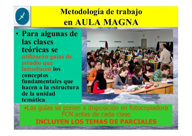 Metodología de trabajo en AULA MAGNA • Para algunas de las clases teóricas se utilizarán guías de estudio que introducen l...