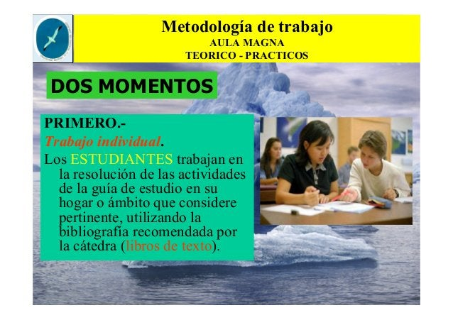 Metodología de trabajo AULA MAGNA TEORICO - PRACTICOS PRIMERO.- Trabajo individual. Los ESTUDIANTES trabajan en la resoluc...