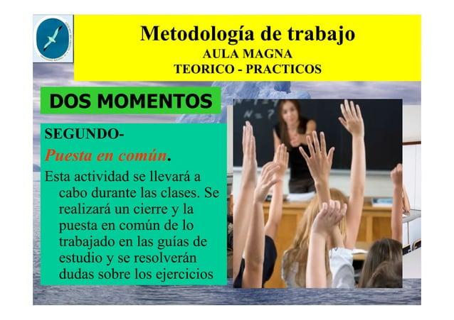 Metodología de trabajo AULA MAGNA TEORICO - PRACTICOS SEGUNDO- Puesta en común. Esta actividad se llevará a cabo durante l...