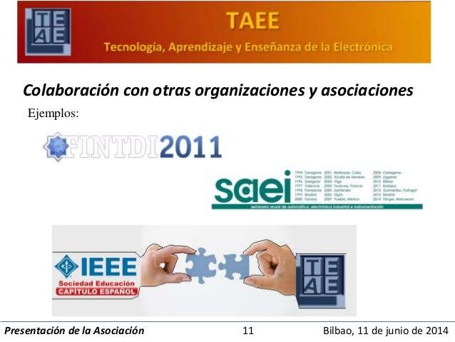 Colaboración con otras organizaciones y asociaciones  Ejemplos:  Presentación de la Asociación 11 Bilbao, 11 de junio de 2...