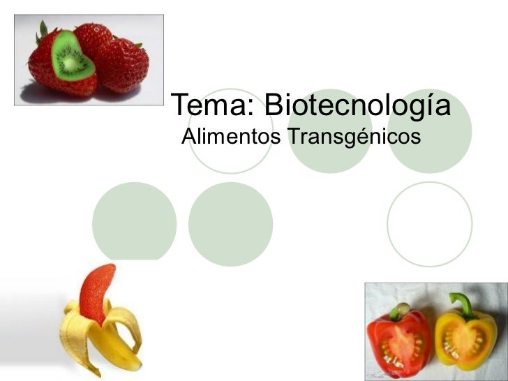 Tema: BiotecnologíaAlimentos Transgénicos