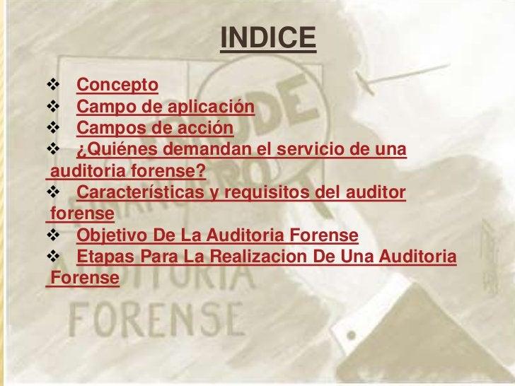 """CONCEPTO""""La Auditoria forense es el uso de técnicas de investigacióncriminalística, integradas con la contabilidad, conoci..."""