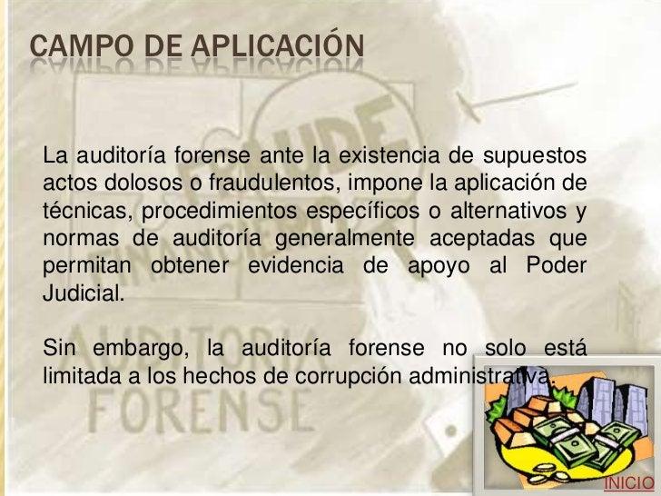 CAMPOS DE ACCIÓN El profesional forense es llamado a participar en actividades relacionadas con investigaciones sobre: - C...