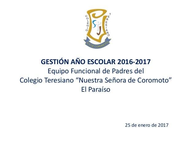 """25 de enero de 2017 GESTIÓN AÑO ESCOLAR 2016-2017 Equipo Funcional de Padres del Colegio Teresiano """"Nuestra Señora de Coro..."""
