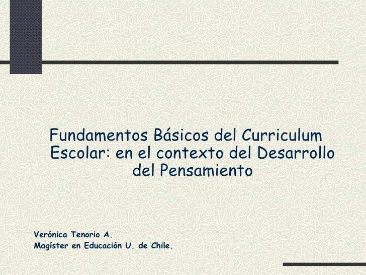 Fundamentos Básicos del Curriculum    Escolar: en el contexto del Desarrollo               del Pensamiento   Verónica Teno...