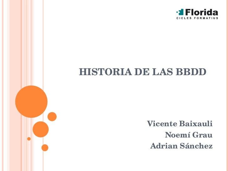 HISTORIA DE LAS BBDD Vicente Baixauli Noemí Grau Adrian Sánchez