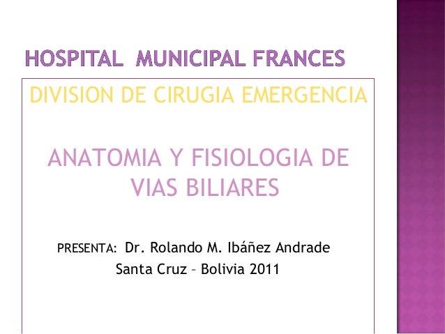 DIVISION DE CIRUGIA EMERGENCIA ANATOMIA Y FISIOLOGIA DE VIAS BILIARES PRESENTA: Dr. Rolando M. Ibáñez Andrade Santa Cruz –...