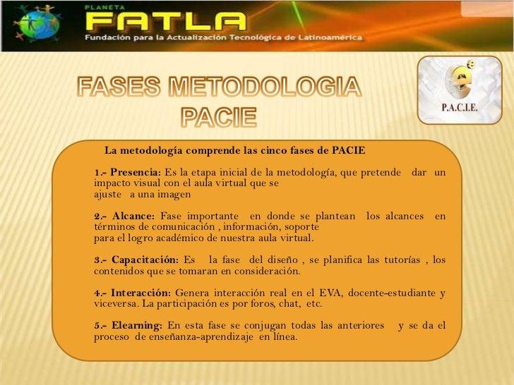 La metodología comprende las cinco fases de PACIE1.- Presencia: Es la etapa inicial de la metodología, que pretende dar un...