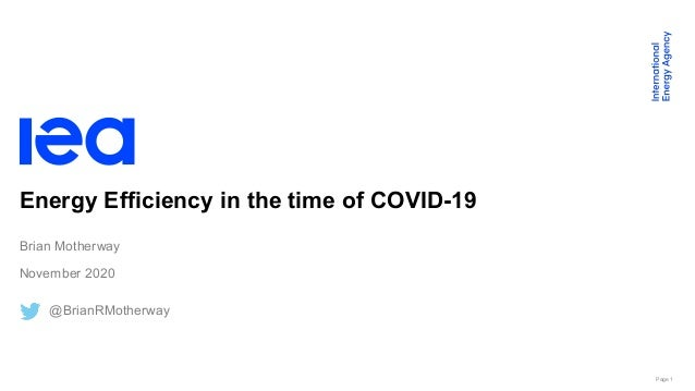 Page 1 Energy Efficiency in the time of COVID-19 Brian Motherway November 2020 @BrianRMotherway