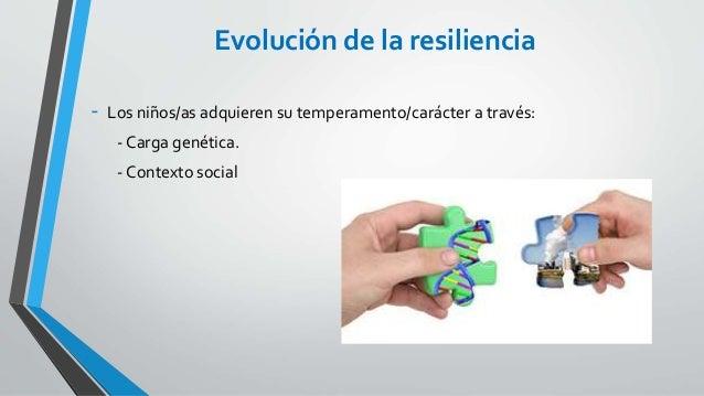 Evolución de la resiliencia - Los niños/as adquieren su temperamento/carácter a través: - Carga genética. - Contexto social